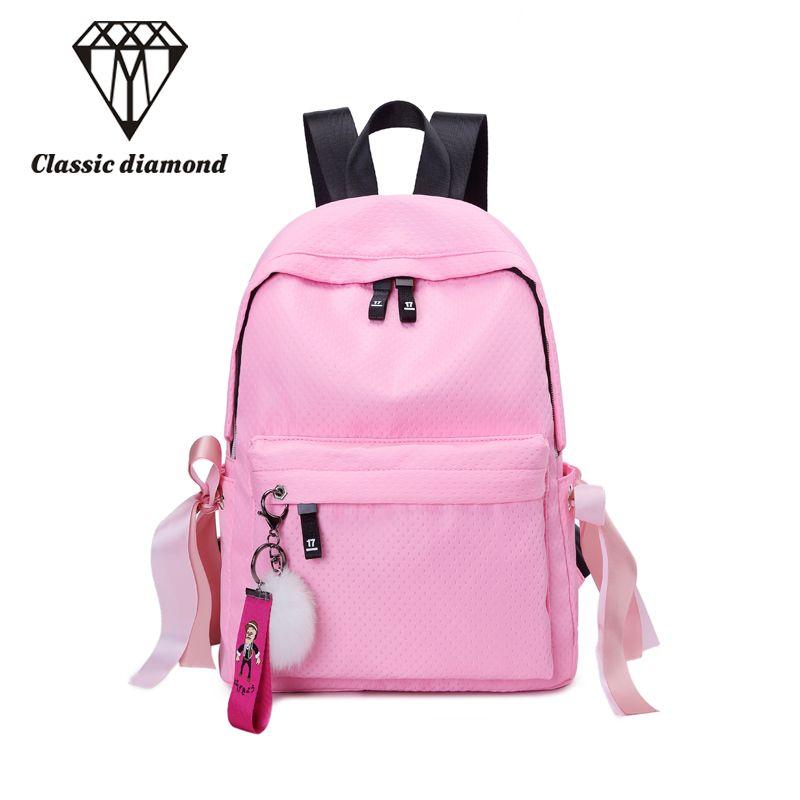 Classique Diamants sacs d'école à la mode pour jeunes filles et garçons de sucrerie couleurs sacs à dos pour enfants Bowknot boule De Fourrure pendentif