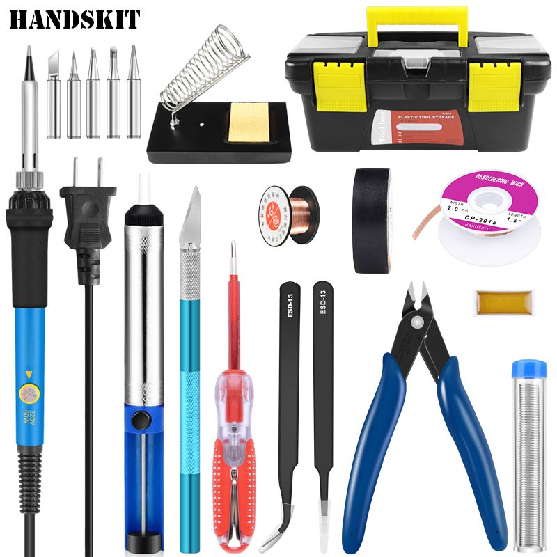 Handskit Soldering Iron 220V 60W Electric Soldering Iron Kit +5pcs Tips Soldering Iron Stand Portable Welding Repair Tool