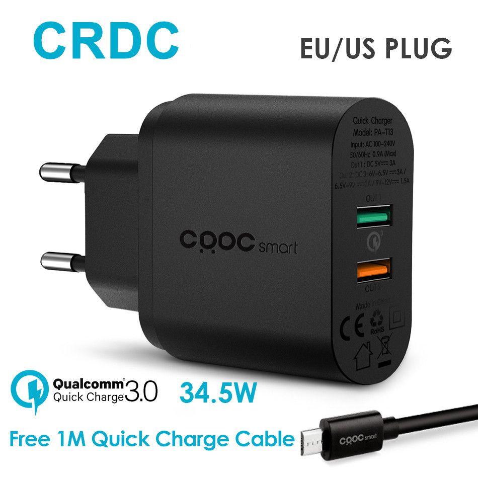 CRDC USB Chargeur 34.5 W Universel Charge Rapide 3.0/QC 2.0 Mobile Chargeur de téléphone pour iPhone 7 6 Samsung Galaxy s8 7 Xiaomi LG etc