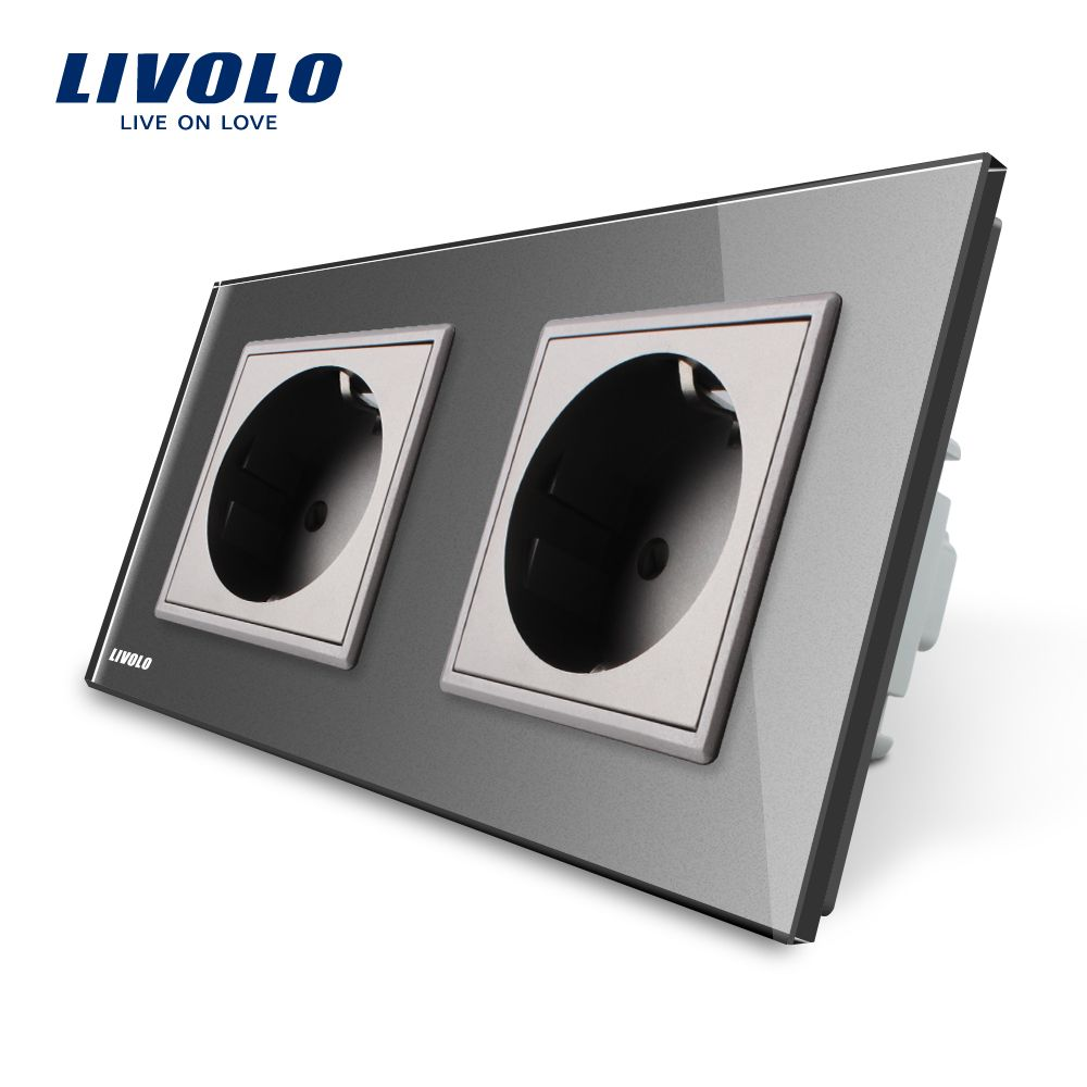 Livolo Manufacturer EU Standard Wall Power Socket, Gray Crystal <font><b>Glass</b></font> Panel, AC110~250V 16A Wall Outlet VL-C7C2EU-15