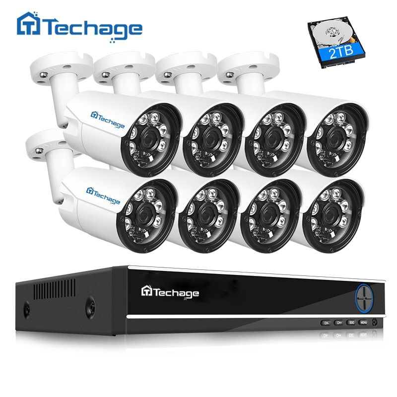 Techage 4mp HD CCTV System 8CH AHD DVR <font><b>8PCS</b></font> 4.0mp 2560*1440 Security Camera Outdoor Video Surveillance System Easy Remote View