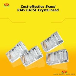 50pcs/lot Brand Cost-effective CAT5E Crystal head gold-plated Original 8P8C RJ45 network plug Ethernet CABLE connector