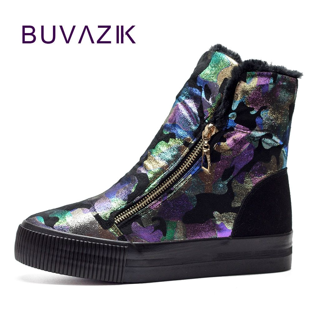 2017 thickened graffiti zippers women short snow boots female cotton winter shoes fashion design warm flock