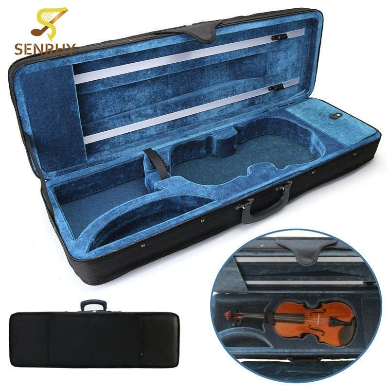 SENRHY Black 4/4 Full Size Oblong Shape Violin Carry Hard Case with Cushioning for Violin Stringed Instruments Parts Accessories