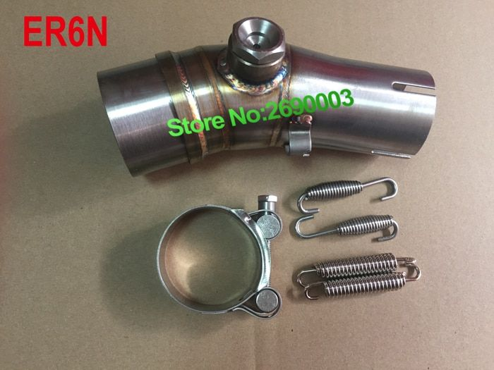 ER6N Motorcycle Exhaust Link Pipe Middle Pipe Interface Tube Motorbike Exhaust Muffler Pipe Escape Demper Connection Adapter