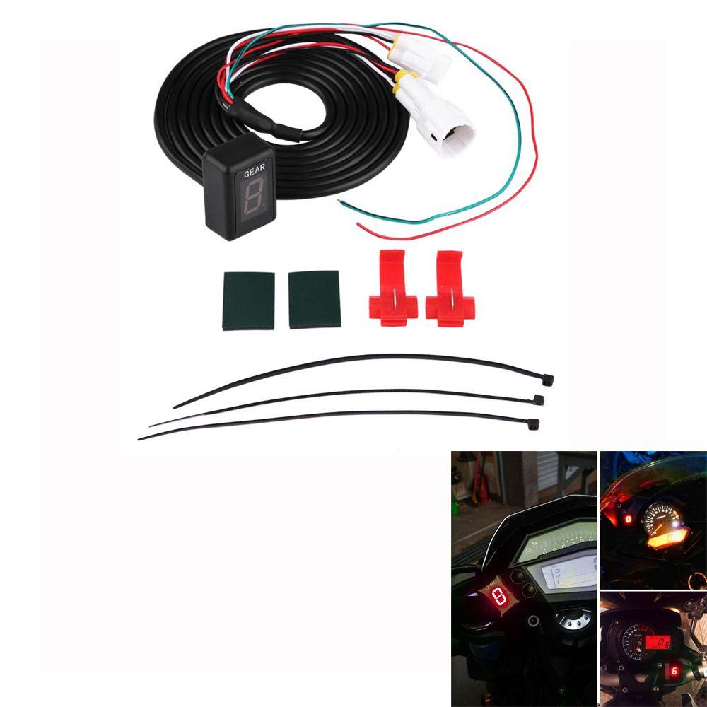 Motorcycle ECU Plug Mount 6 Speed Digital Gear Indicator Display Shift Lever Sensors for Yamaha FZ-16 FZ-S FZ400 Red LED New