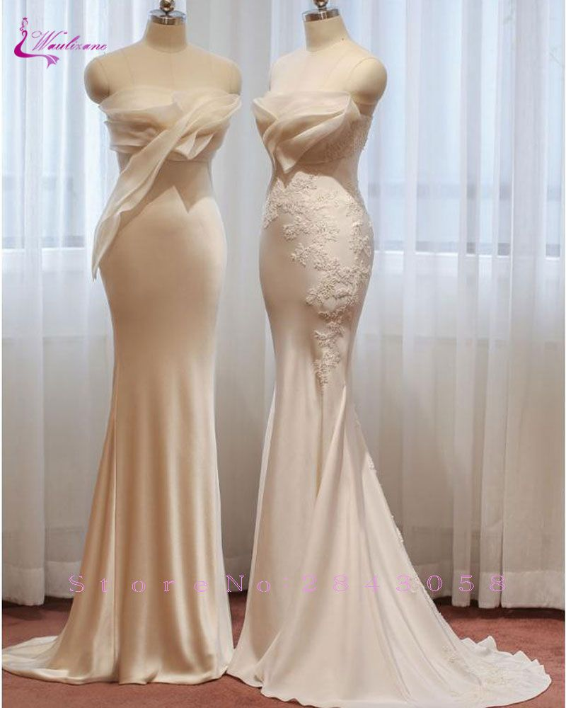 Waulizane Delicate Appliques Sweetheart Mermaid Wedding Dress Lustrous Satin Embroidery Off The Shoulder Bridal Gown Hot Sale