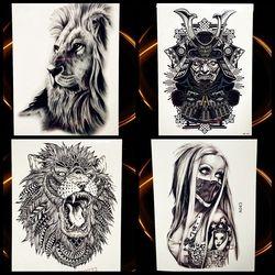 Африка Serengeti Лев временная татуировка Индийский Племенной могучий лев воин водонепромокаемое флеш тату наклейка черная тату для мужчин и ж...
