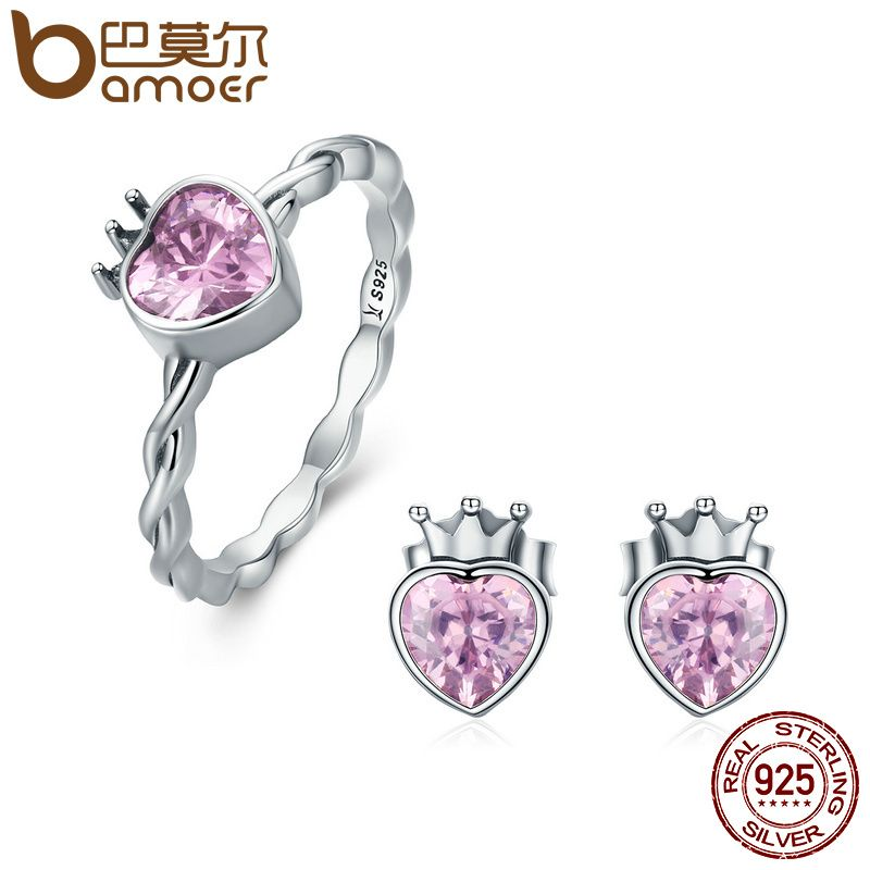 BAMOER Authentic 925 Sterling Silver Jewelry Set Crown of Heart Sparkling Pink CZ Jewelry Sets Sterling Silver Jewelry Gift