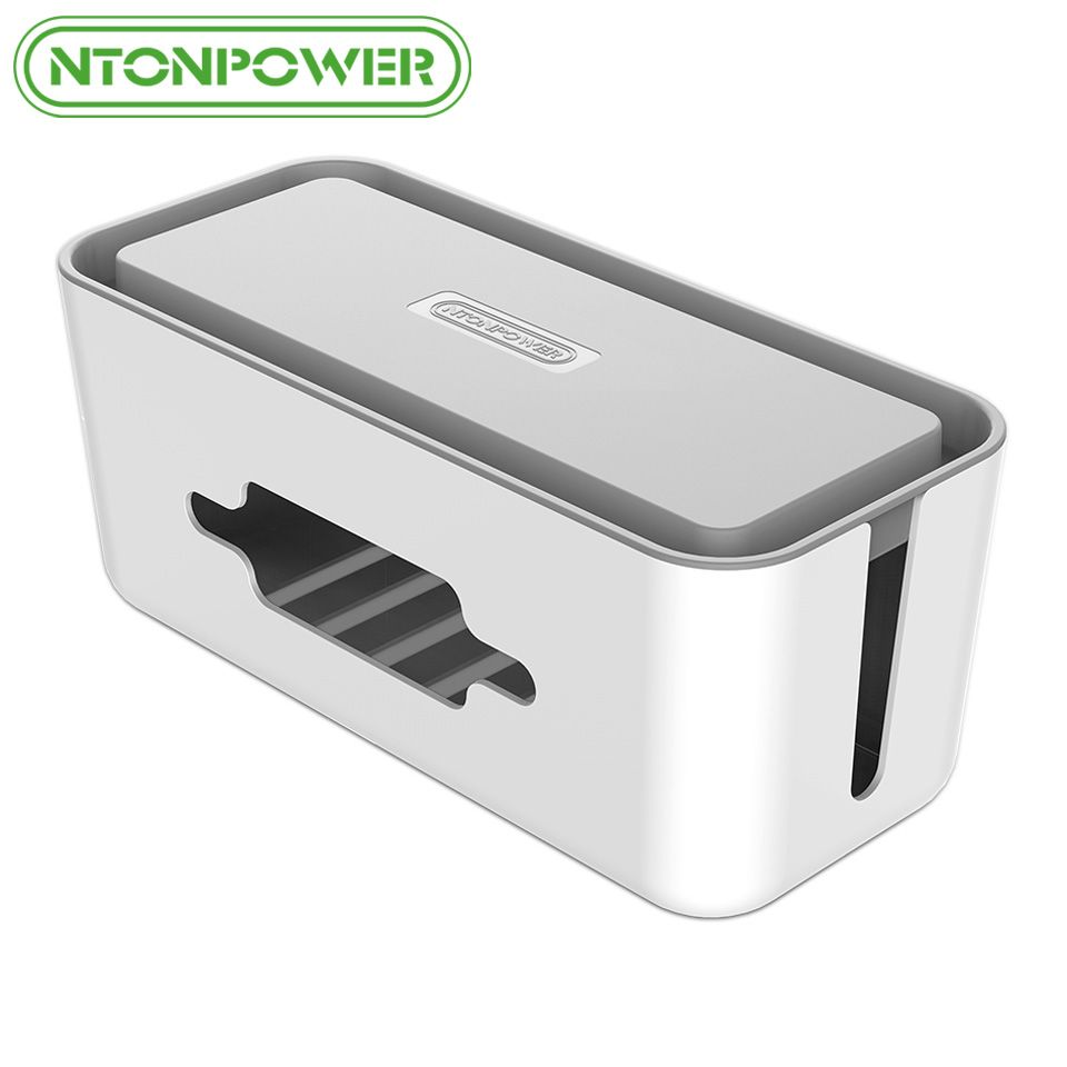 NTONPOWER RMB Hard Plastic Power <font><b>Strip</b></font> Storage Box Cable Winder Organizer Wire Collection Container with Cover for Home Safety