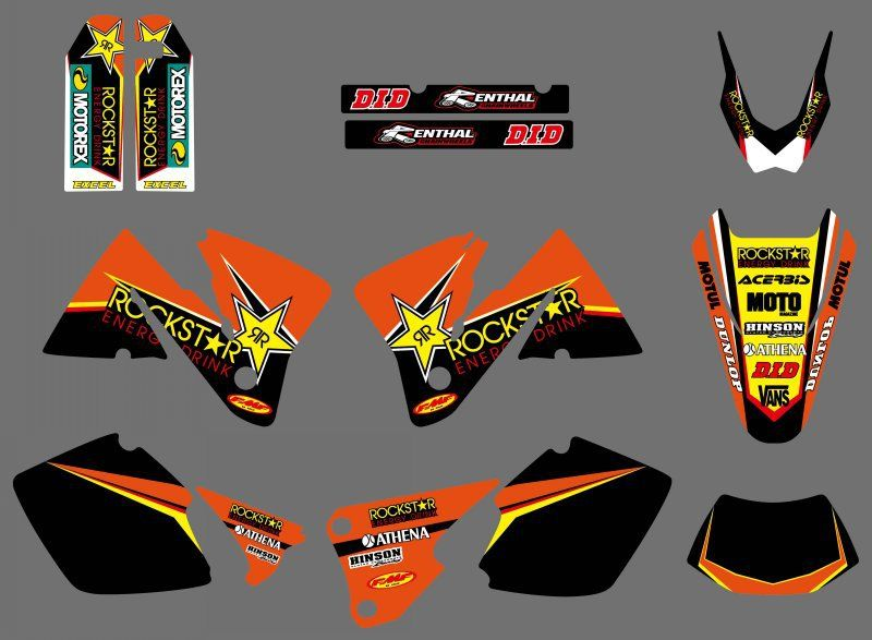 0392 Star NEW TEAM  GRAPHICS WITH MATCHING BACKGROUNDS Sticker For KTM EXC 250 300 350 400 520 MXC 200 300 2001 2002