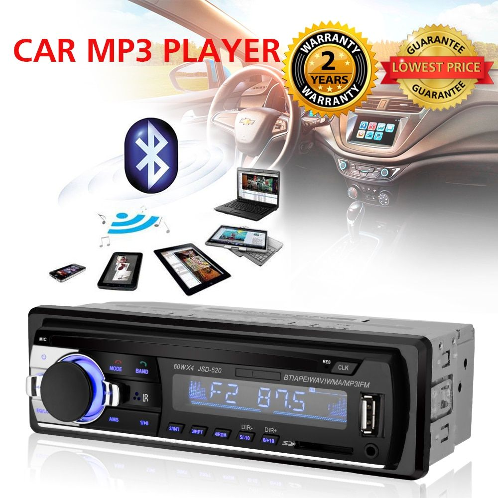 Car Radio Stereo Player Digital Bluetooth Car MP3 Player 60Wx4 FM Radio Stereo Audio USB/SD with In Dash AUX Input Autoradio