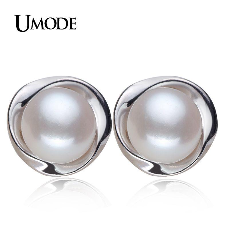 Umode 100% a estrenar genuino joyería de la perla natural pendientes de perlas para las mujeres y las niñas 925 sterling silver stud earring regalo ae0023