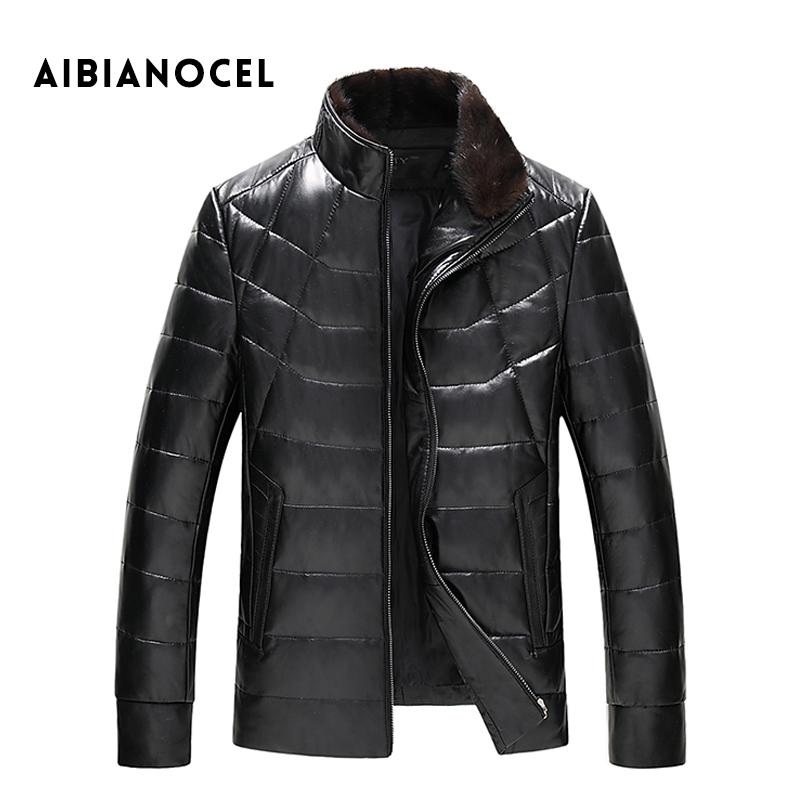 Aibianocel Новинка; модный стиль Пояса из натуральной кожи пальто Для мужчин зимние кожаные Подпушка пальто норки воротник съемный кожаный курт...