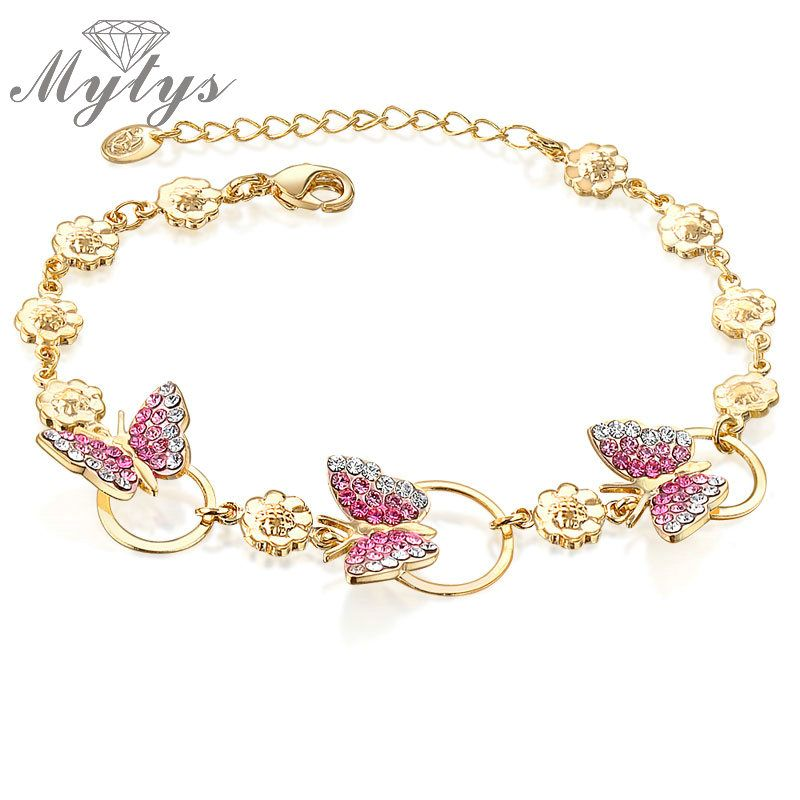 Mytys Girly Butterfly Pink Crystal Chain Link Bracelet Yellow GP B827