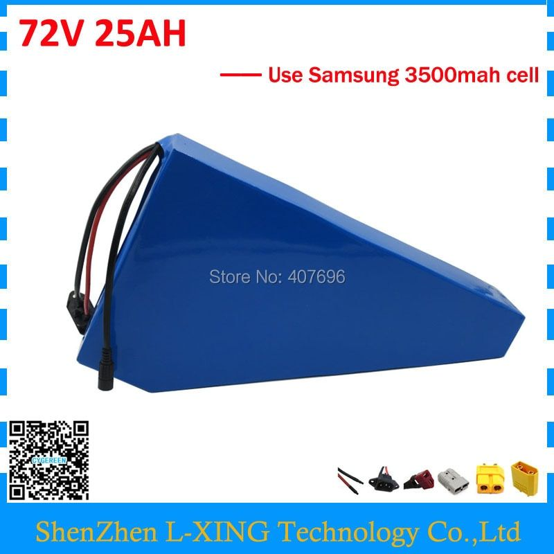Free customs tax 72V 25AH lithium battery 72V 25AH triangle battery with free bag use Samsung 3500mah cell 50A BMS 2A Charger