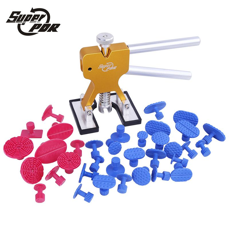 Super PDR Tools Kit Professional Hand Tool Sets High Quality Car Paintless Dent Repair Tools Set Gold Dent Puller Glue Tabs