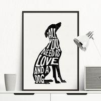 Perro cartel minimalista galgo italiano nórdico impresión del arte de la pared de lona de pintura de pared para sala de decoración para el hogar, sin marco