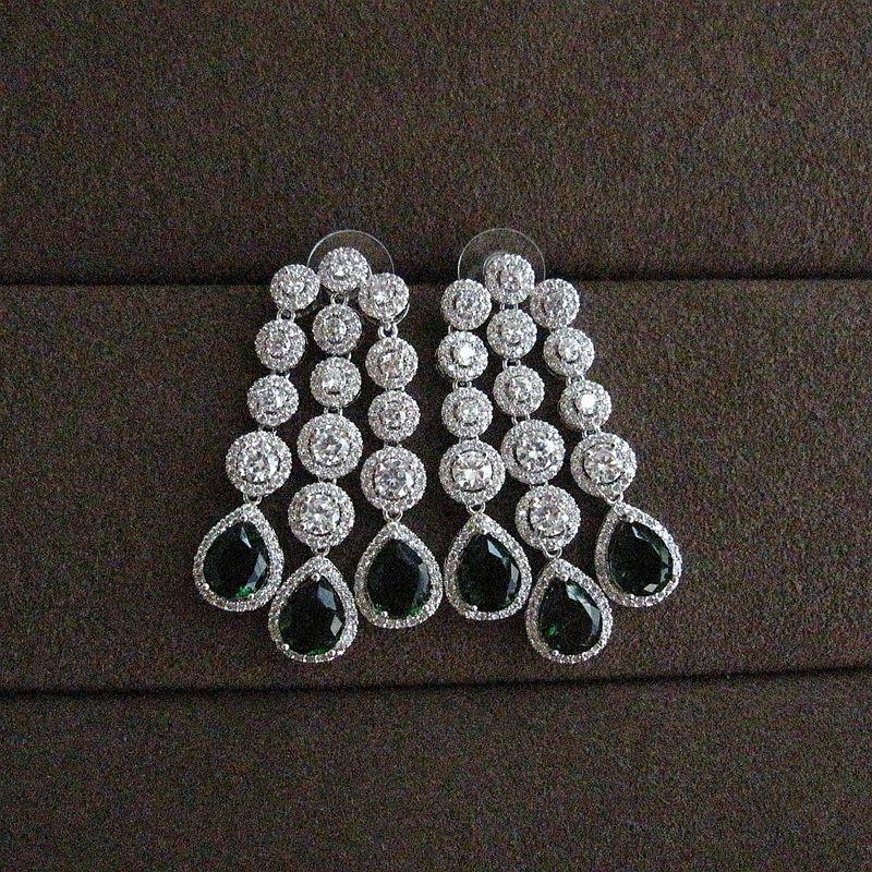 Fashion AAA cubic zirconia round and pear stones unique big drop earrings women's accessaries,e6390