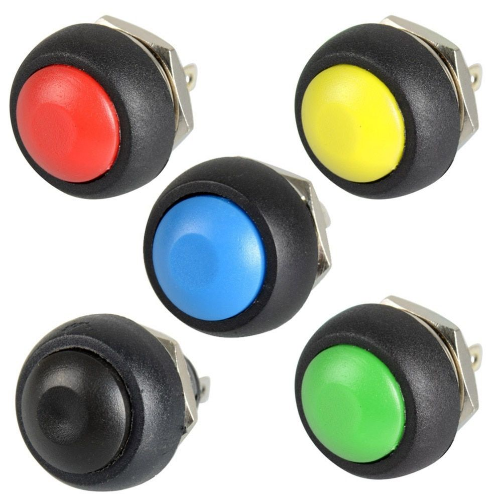 5x Black/Red/Green/Yellow/Blue 12mm Waterproof Momentary Push button Switch VE059 P0.4