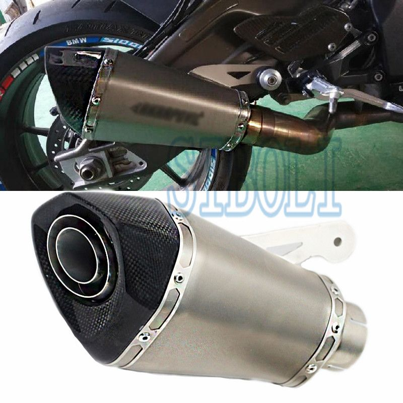 60MM Inlet Motorcycle For BMW S1000RR Carbon Fiber Exhaust Pipe Muffler Slip On Exhaust With DB Killer 2015 2016 2017 Year AK206