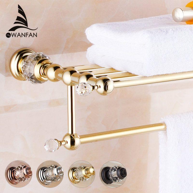 Bathroom Shelves Brass Crystal Towel Rack Gold Towel Shelf Wall Mounted Towel Holder Towel Hanger Bathroom Accessories HK-20