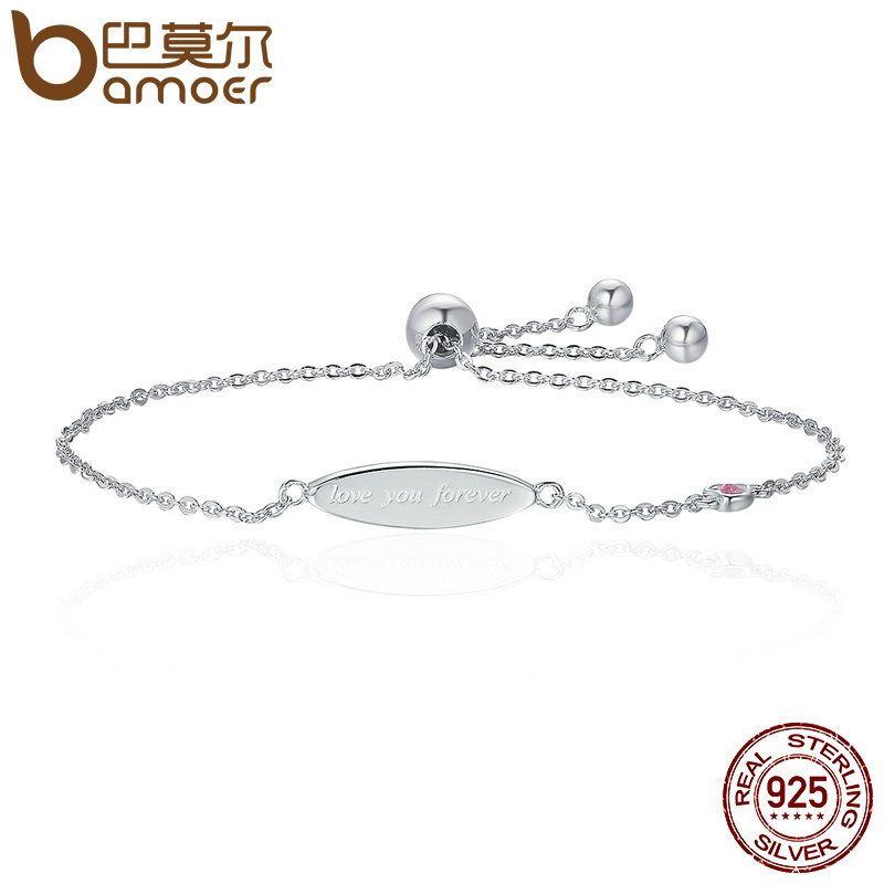 BAMOER Genuine 100% 925 Sterling Silver Love You Forever Letter Women Chain Bracelets Luxury Authentic Silver Jewelry SCB021