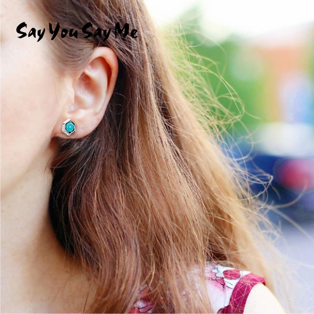 925 Silver Turquoise Stud Earrings Turquoise Party Elegant Trendy Green Earring Women Fine Jewelry Simple Earring Say You Say Me