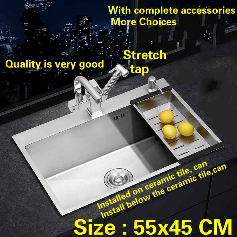 Free shipping  Kitchen sink stretch tap mini 304 stainless steel 3 mm hand made single standard slot hot sell 55x45 cm