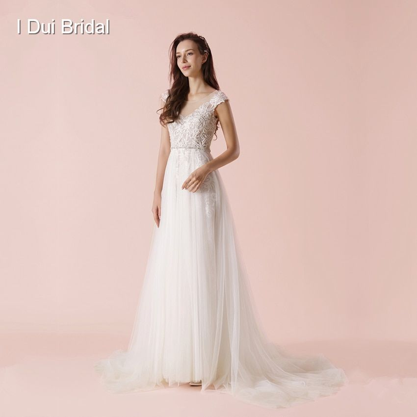 A Line Keyhole Back Wedding Dress 2018 New Arrival Illusion Neckline Lace Appliqued beaded Bridal Gown