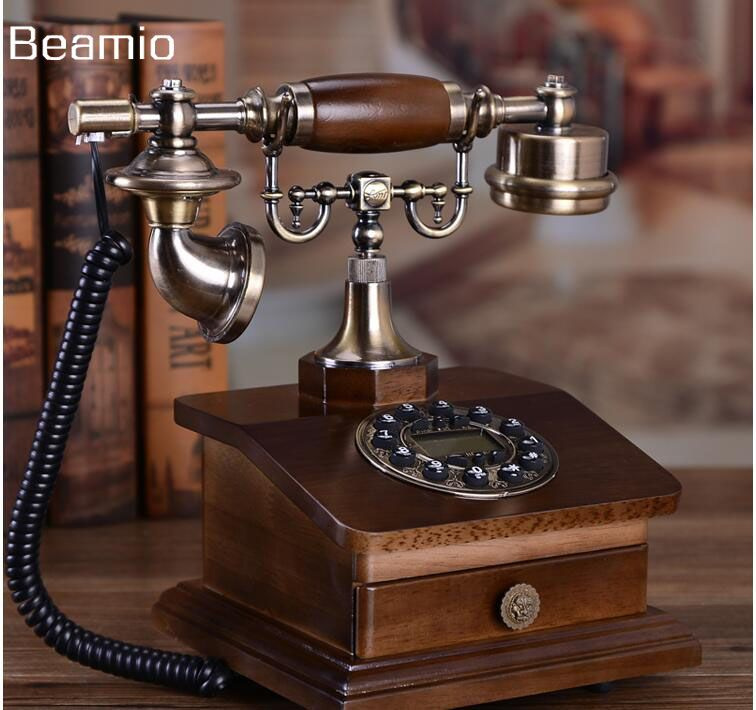 Mode Bois Téléphone Antique Téléphone Fixe Téléphone Vintage Téléphone À La Maison Équipée Téléphone Fixe Telefone Avec RD Boîte Tiroir