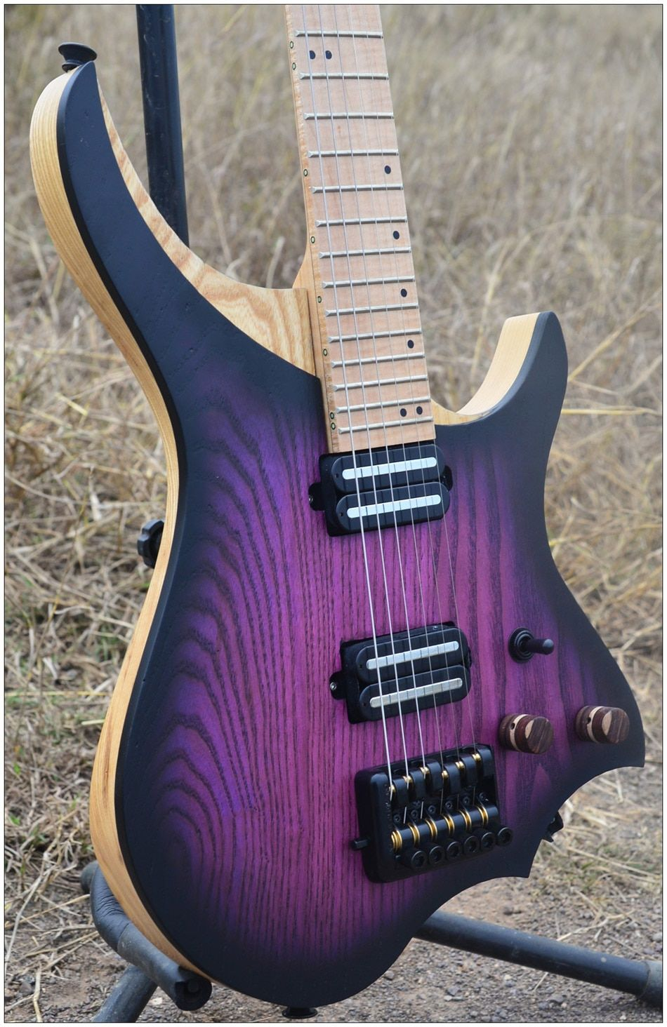 NK Headless Electric Guitar steinberger style Model Purple burst Color Flame maple Neck in stock Guitar free shipping
