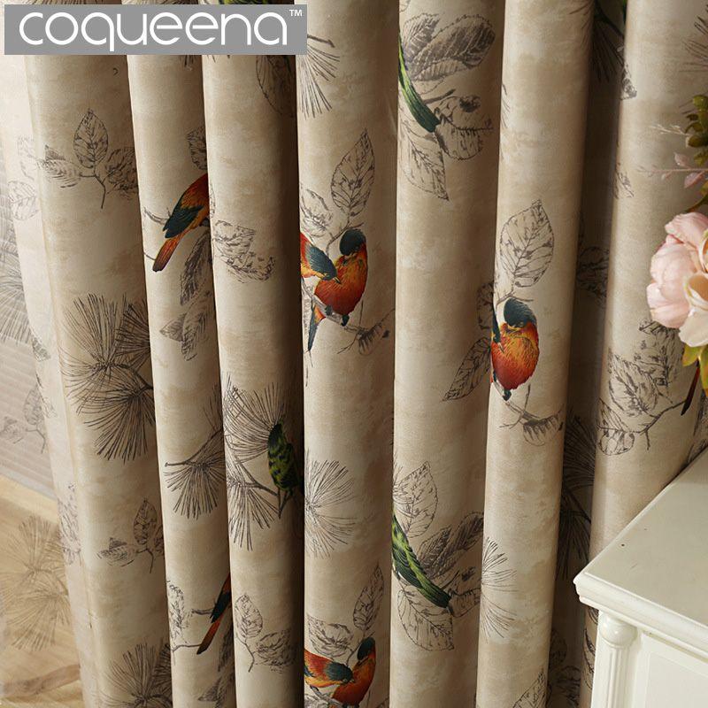 Vintage oiseaux imprimer pays rideaux pour salon chambre décorative cuisine rideaux rideaux rideaux fenêtre traitements Style rustique