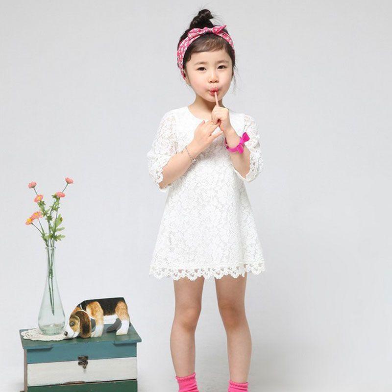 Offre spéciale! 2018 nouvelle mode coréenne enfants vêtements belles filles blanches pleine dentelle robe princesse Mini robes enfant bébé vêtements