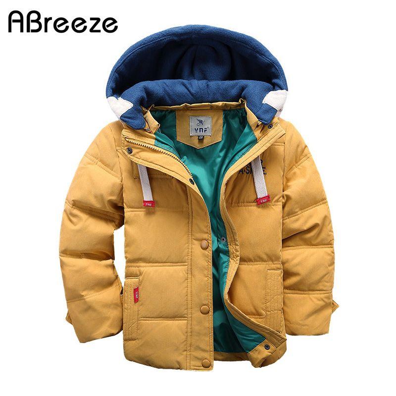 Abreeze 2017 children Down & Parkas 4-10T winter kids outerwear boys casual warm hooded jacket for boys solid boys warm coats