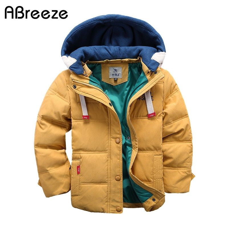 Abreeze children Down & Parkas 4-10T winter kids outerwear boys casual warm hooded jacket for boys solid boys warm coats