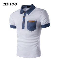 Merek Pakaian Musim Panas pria Polo Shirt Mode Koboi Jahitan Lengan Pendek Polo Shirt Slim Fit Kasual Camisa Polo Homme ZE0251