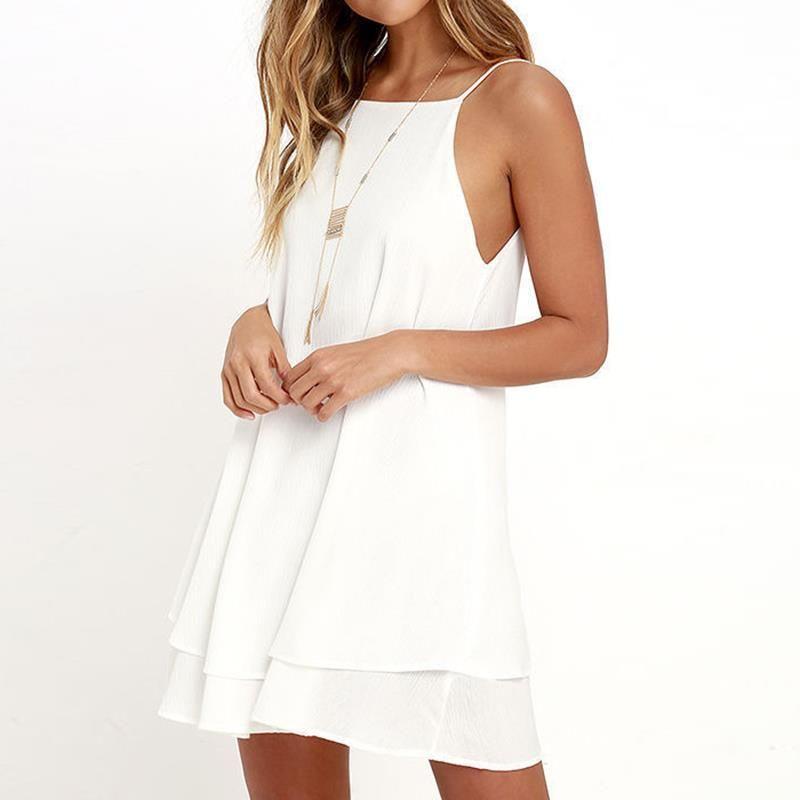 Été dos nu robe en mousseline de soie femmes Sexy sans manches Spaghetti sangle robes solide plage robe de soirée Vestidos blanc LJ9552C