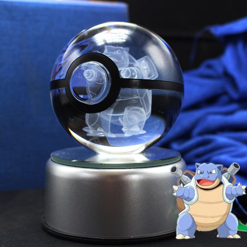 Free shipping Dropship Supplier Pokemon Go Blastoise Crystal Glass Ball with LED base as Christmas Gifts for Kids