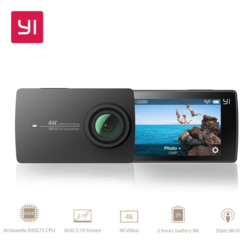 YI 4 k Camera Action International Version Édition Ambarella A9SE Sport Mini Caméra BRAS 12MP CMOS 2.19