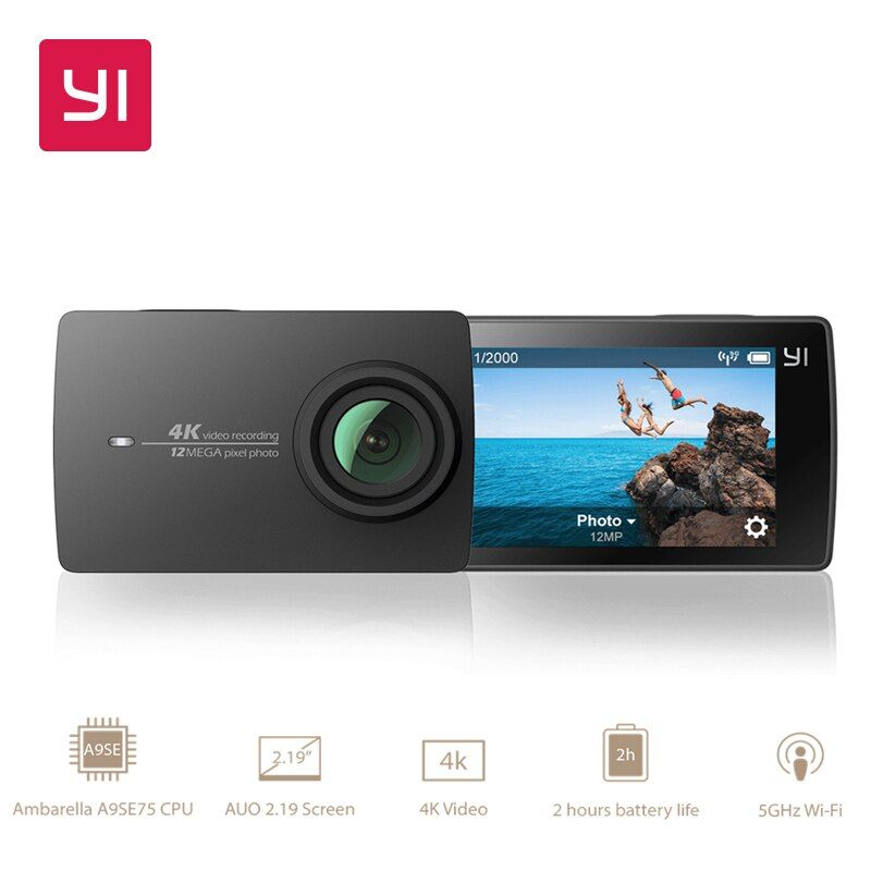 YI 4K Action Camera International Version <font><b>Edition</b></font> Ambarella A9SE Sports Mini Camera ARM 12MP CMOS 2.19 155 Degree EIS LDC WIFI