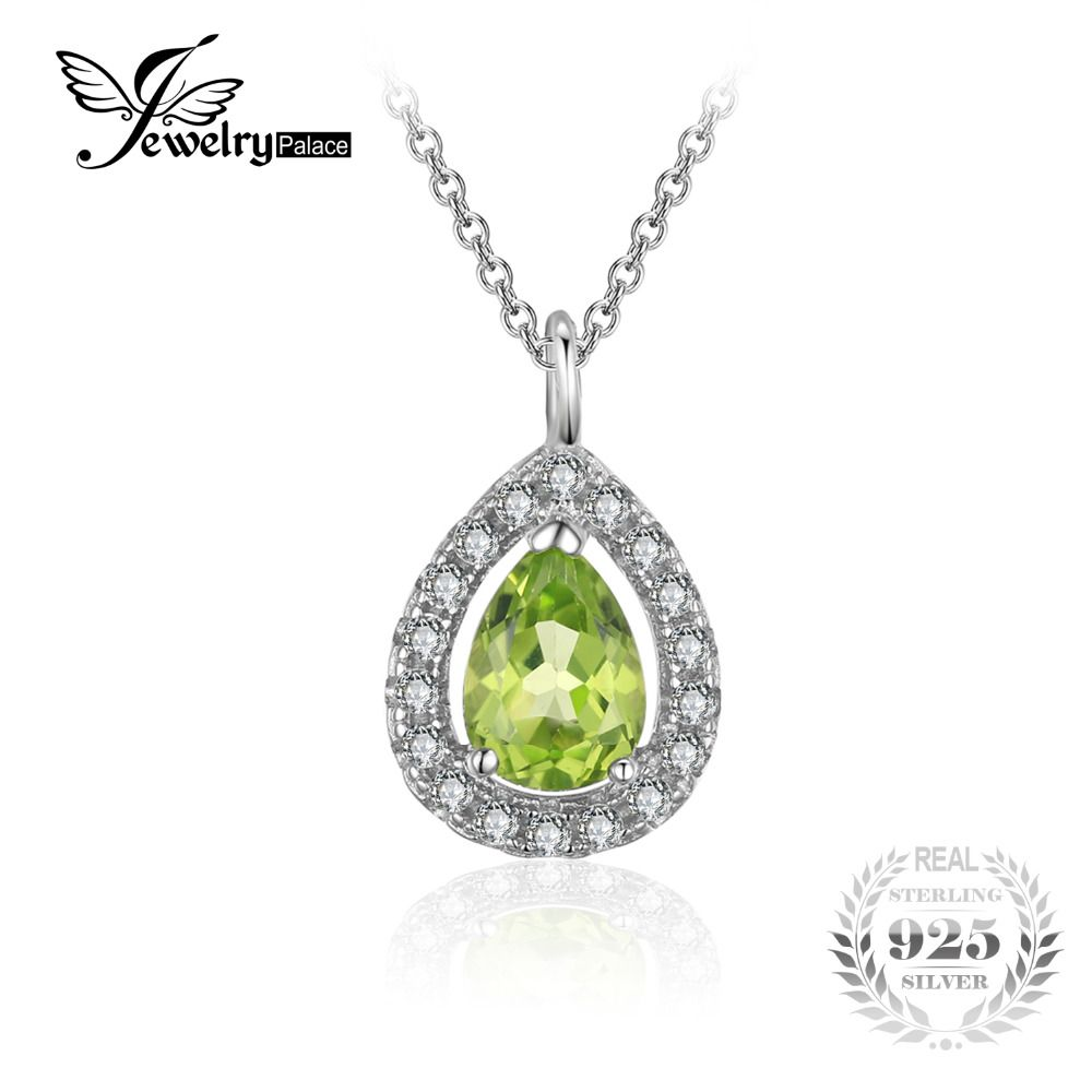 JewelryPalace Pear 0.8ct Natural Peridot 925 Sterling Silver Solitaire Pendant Necklace 18 Inches Women Accessories 2018 Trendy