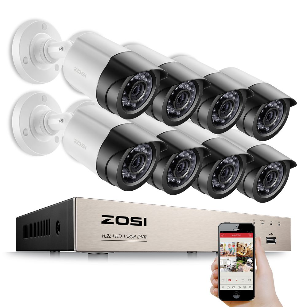 ZOSI 8CH Email Alert Surveillance Kits 1080P HD-TVI DVR 8PCS 2.0MP IR Night Vision Security Camera Video CCTV System