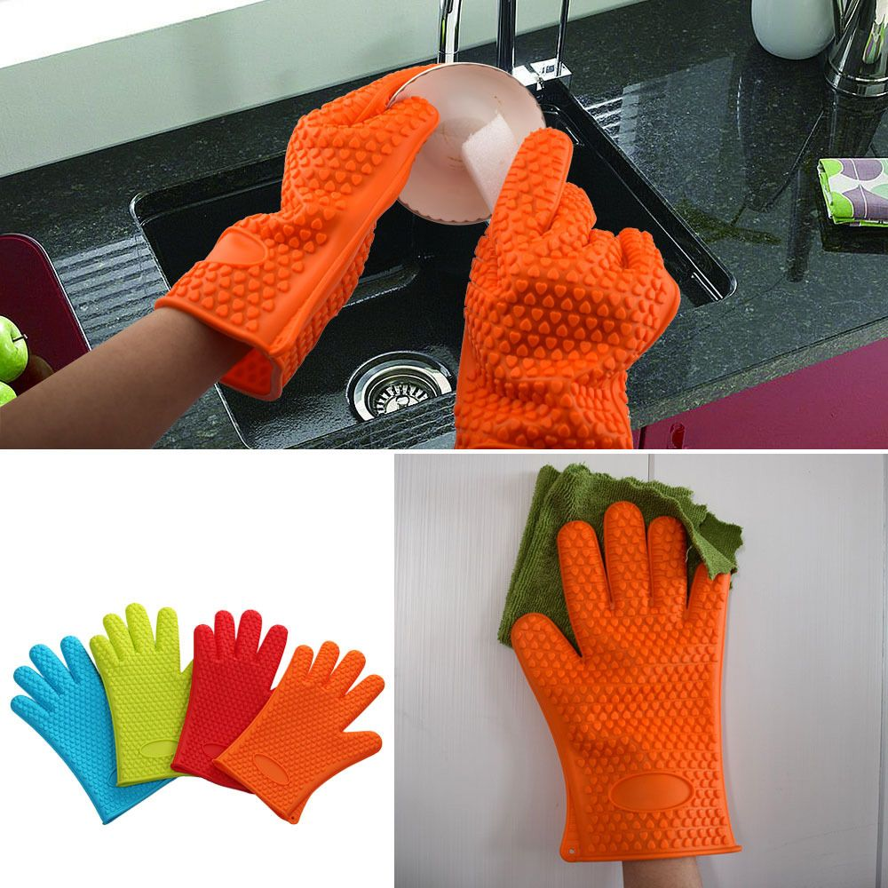 Barbecue Hot 1 Pcs food Grade Heat Resistant Thick Silicone Kitchen Oven Glove Cooking BBQ Grill Glove Oven Baking Gloves
