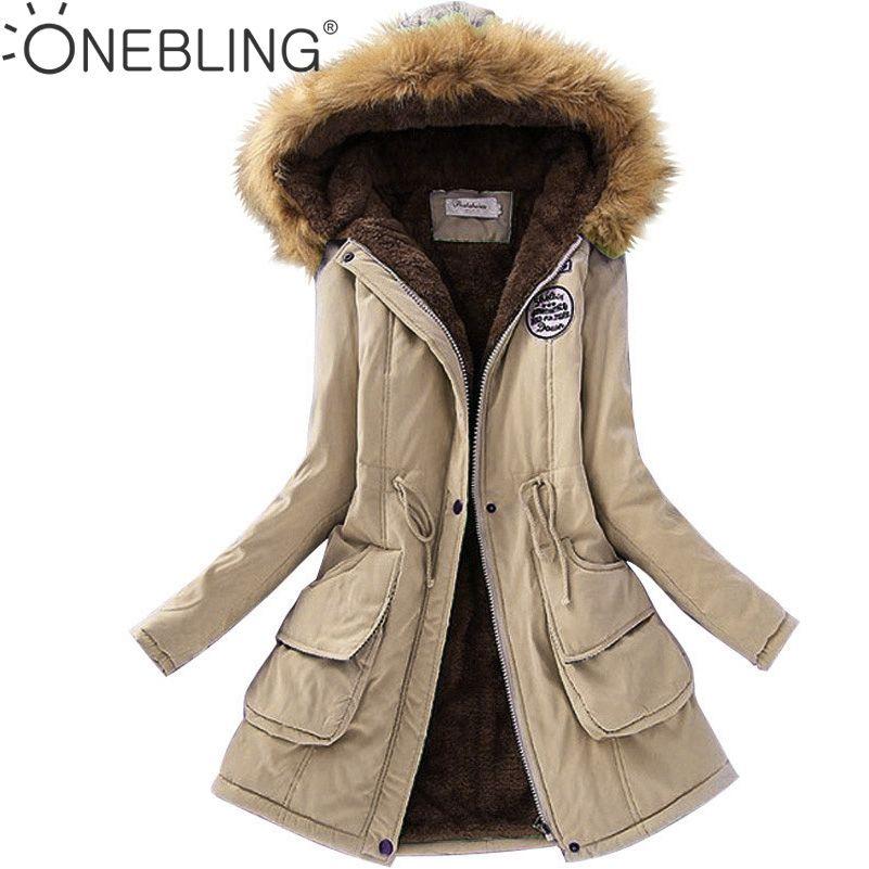 QIUXUAN Plus Size Long Parkas Drawstring Design Patch Detail Big Pockets Fleece Liner Padded Jacket Faux Fur Hooded Women Coats