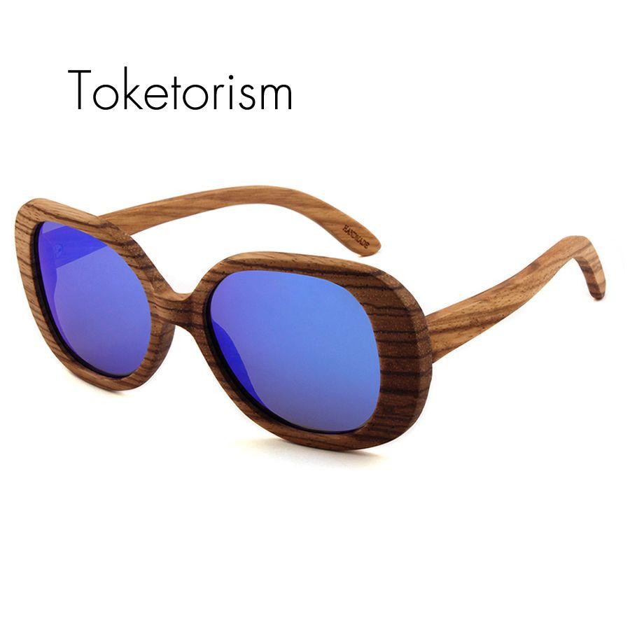 Toketorism Super vintage designer mirrored polarized wooden sunglasses women round wood sunglass 0303