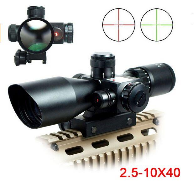 Livraison gratuite 2.5-10X40 Lunette de Tir Lumineux Tactique de Tir avec Laser Rouge Portée Chasse Portée