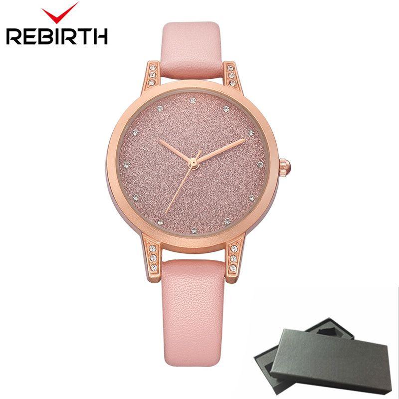 New REBIRTH Women Watches Casual Top Brand Luxury Quartz Pink Leather Clock Classic Business Female Rhinestone fashion Clocks