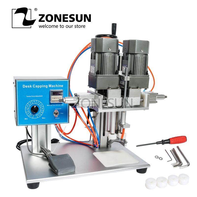ZONESUN Desktop Schraube Flasche Semi Automatische Kunststoff Glas Wasser Saft Honig Kleine Waschen Dropper Auslauf beutel Capping Maschine
