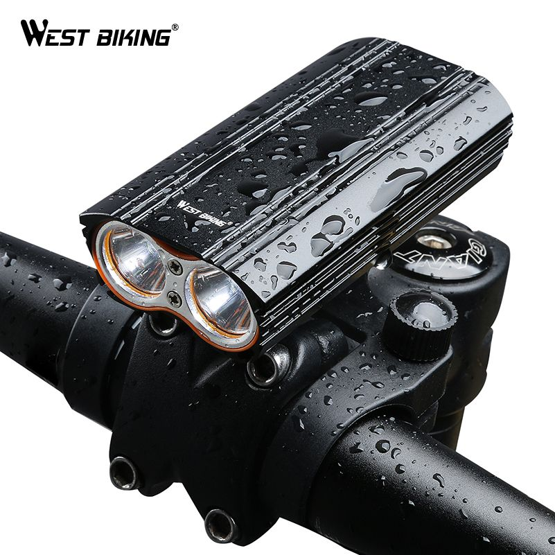 WEST BIKING MAX 2000LM Bike Light 2 XML-T6 LED Headlight Built-in 6000mAh Rechargeable Battery + 2 Handlebar Mount Bicycle Light